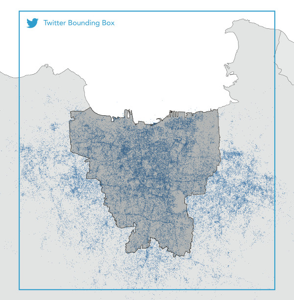 Fig. 05. Geolocated Tweets Related to Flooding in Jakarta over the 2013/2014 Monsoon Season. Data source: Twitter #DataGrant.