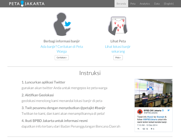Fig. 16. Screenshot of user instructions from PetaJakarta.org.