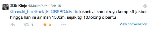 Fig. 25. Sample tweet from user @MuktaPutri.