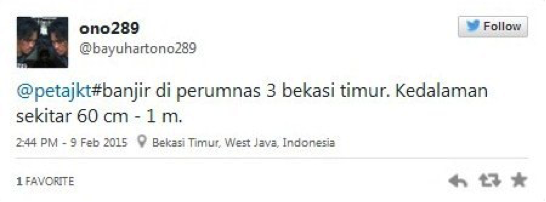 Fig. 28. Sample tweet from user @bayuhartono289.