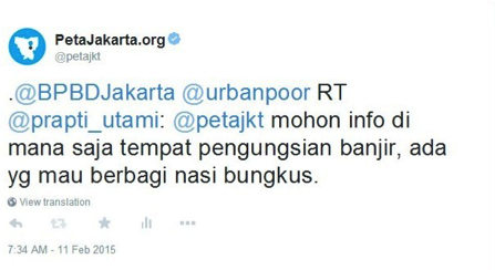 Fig. 33. Sample tweet from user @petajkt to rebroadcast requests for shelter information.