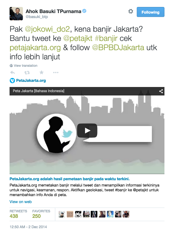 Fig. 36. Launch tweet sent by user @basuki_btp (Governor of Jakarta) to user @jokowi_do2 (President of Indonesia).